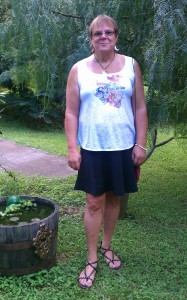 2/23/14 First short skirt - front yard at home in Maui