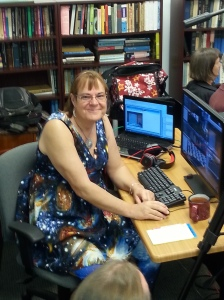12/05/14 Simulcasting a live astronomy presentation to the web and Second Life.  This is my 'astro' dress!